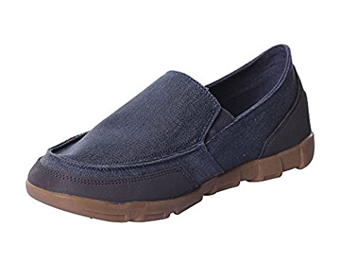 UJoowalk Men's Classic Canvas Comfort Casual Walk Driving Boat Shoes Penny Slip On Loafers (12 D(M) US, Navy - Classic Moc Slip