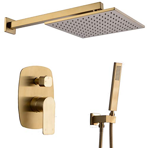 TRUSTMI 10 inch Brass Bathroom Rain Shower Head with Handheld Shower Faucets Sets Complete Wall Mounted Shower System with Shower Valve Control,Brushed ()