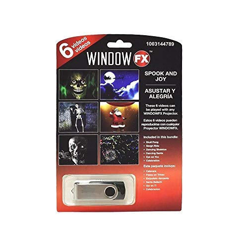 Window FX Halloween 6 Videos Spook & Joy USB Haunted House Prop Decor New 2018