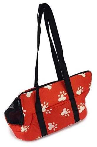 Soft Pet Carrier BAG Comfort Tote Plush Red w/ White Paw Prints Hobo Bag - Hobo Dog Tote