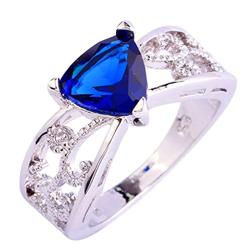 (Humasol 925 Sterling Silver Filled Trillion Cut Lab-Created Sapphire Quartz Flower Promise Band Engagement Ring for Women)