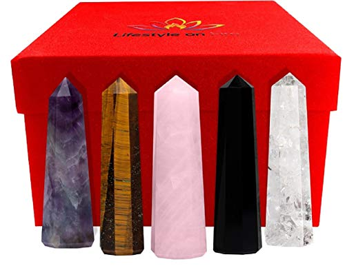 "Lifestyle on Fire Set of 5 Large 3"" Healing Crystal Wands - Clear Quartz, Amethyst, Rose Quartz and Black Obsidian Crystals and Healing Stones - Great for Crystal Healing, Enthusiasts, and Beginners"
