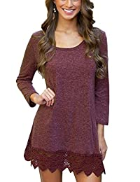 MiYang Women's Purple Long Sleeve A-line Lace Stitching Trim Casual Dress