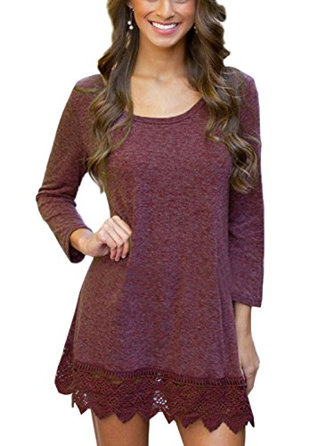 MiYang Women's Purple Long Sleeve A-Line Lace Stitching Trim Casual Dress M