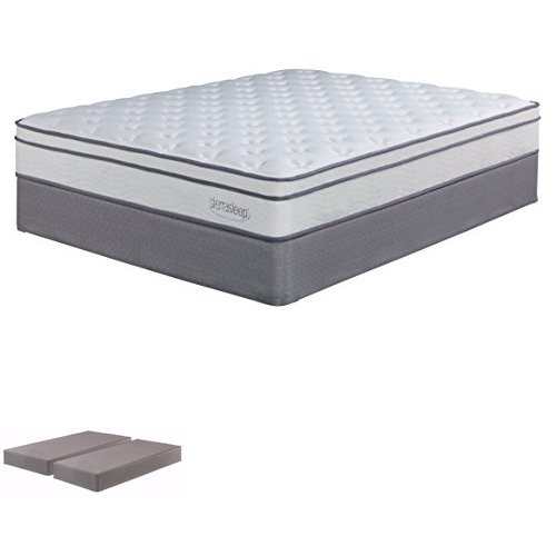 Ashley Furniture Signature Design - Long Peaks Limited Plush King Mattress & 2 Foundations - White & Gray