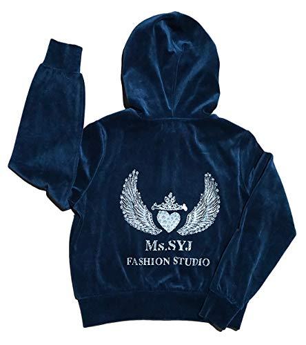 Ms SYJ Women's or Big Girls' Rhinestone Velour Tracksuit Solid Hoodie and Sweatpants Sweatsuit Set(Navy Blue,M) ()