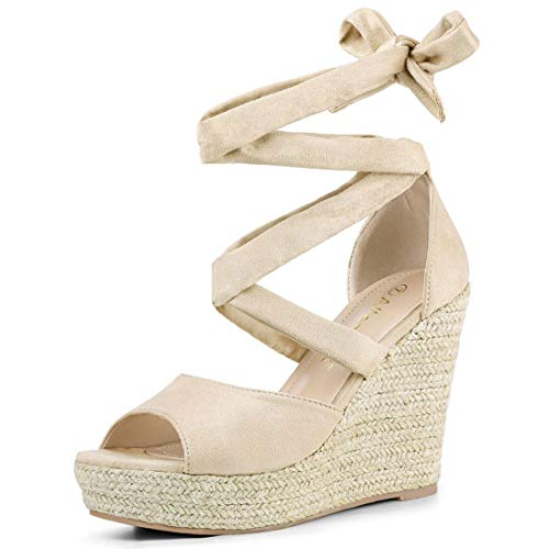 Allegra K Women's Lace Up Espadrilles Wedges Beige Sandals - 7 M US