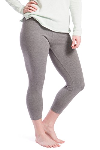 Fishers Finery Capri Leggings, Ecofabric; Bamboo Viscose and Organic Cotton Light Heather Gray XL