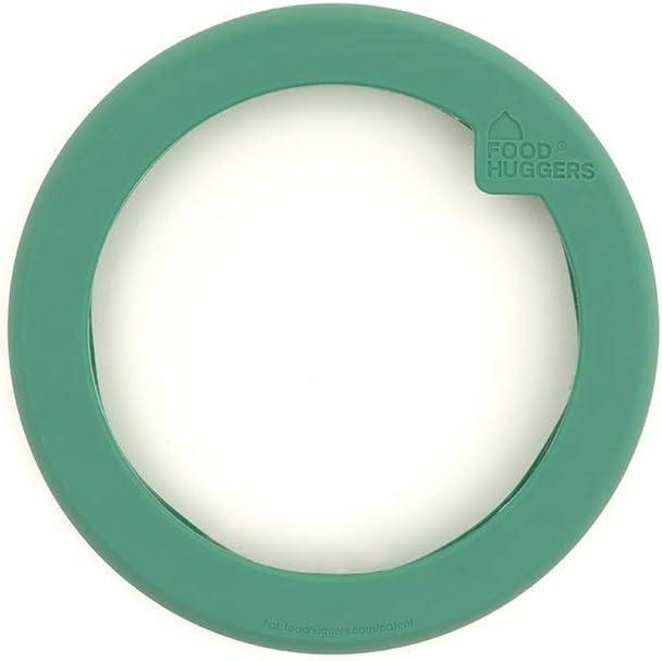 Food Huggers Flexible Stackable Silicone & Glass Bowl Lid, Medium, Gradual Green