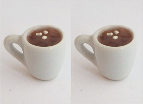 1:12 Dollhouse Scale Hot Cocoa with Marshmallows 2 Glasses Set for Fashion Dolls like Barbie, Bratz, Ever After High, Monster High, Winx Club, Blythe, Pullip, Miniature Fairy Garden Doll Drink ()