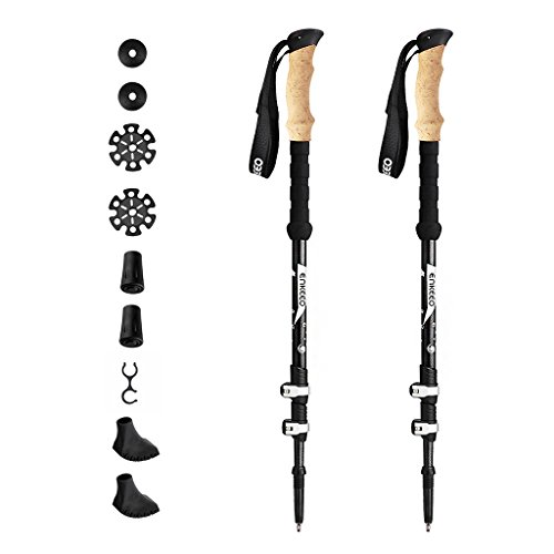 Enkeeo Carbon Fiber Trekking Poles Ultralight Collapsible Hiking Walking Sticks with Aluminum Quick Locks, Cork Grips, 3-Section Telescopic, All Terrain Accessories for Travel Climbing Backpacking