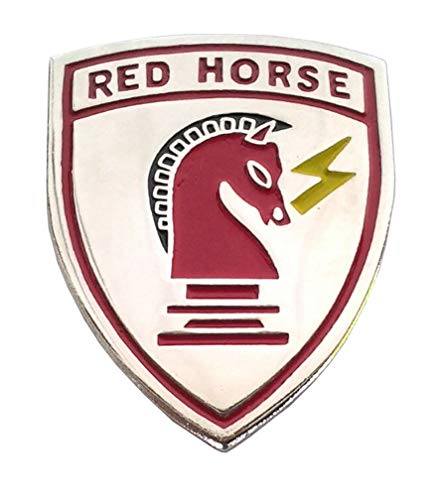 (RED Horse US AIR Force Civil Engineer Military Veteran Hat Pin 14899 HO Large)