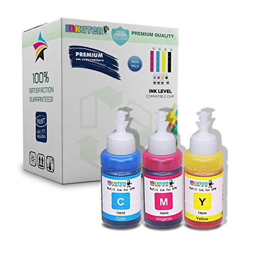 (INKUTEN - Set of 3 Refill Ecotank Ink Kit 70ml for T6642 T6643 T6644 Cyan Magenta Yellow )
