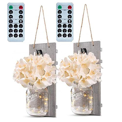 youeneom Mason Jar Sconces Home Décor -with Fairy LED String Lights & Flowers, Decorative Hanging Wall Scone for House Patio Garden Decoration Rustic Hydrangea Flower Scone Set of 2 (Pink)]()