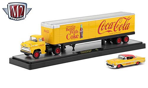 M2 Machines 1958 Chevrolet Spartan LCF & 1958 Chevrolet Impala (Things Go Better with A Coke) 2019 Auto-Haulers Coca-Cola Release 6 Castline 1:64 Scale Die-Cast Vehicle Set (YR01 18-20)