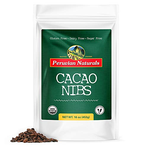 Organic Cacao Nibs 1lb (453g) - Peruvian Naturals | Certified-Organic, unroasted Cocoa Bean fillings - Raw Chocolate Substitute high in Fiber, Iron, Calcium & More Vitamins & Minerals