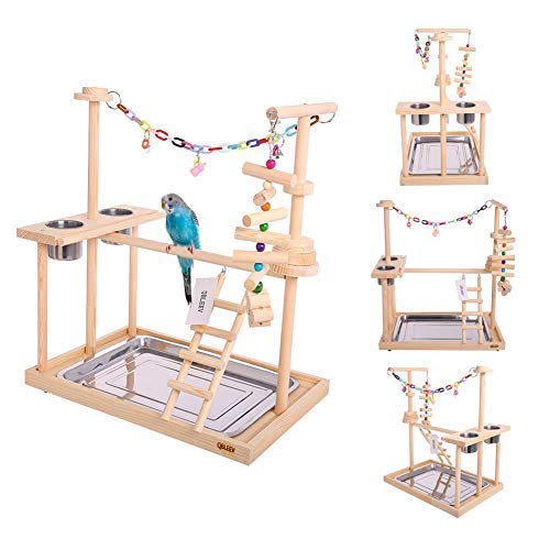 QBLEEV Parrot Wood Stand Perch Bird Playstand Playground Playgym Playpen Ladder with Toys Exercise Play (Include a Tray)(19'' L13 W21 H by QBLEEV