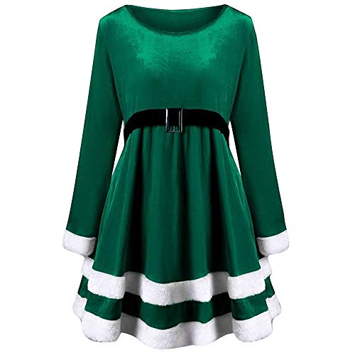 PASATO Fashion Womens Merry Christmas Velvet Long Sleeve Skirt O-Neck Red Festival Dress 2018 (Green,L=US:M)