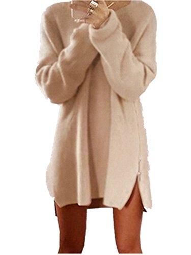 Xuan2Xuan3 Women Side Zipper Long Casual Loose Tunic Knit Pullover Sweater Dress Jumper XL Ivory