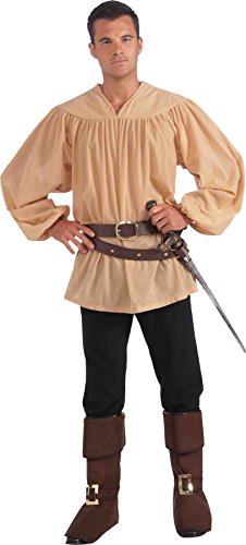 [UHC Men's Medieval Renaissance Shirt Warrior Outfit Adult Halloween Costume, OS] (Ultimate Warrior Wig)