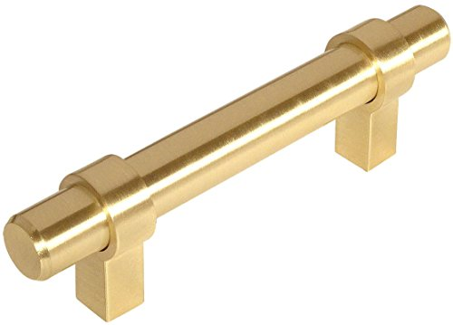 Contemporary Brass Cabinet (10 Pack - Cosmas 161-3.5BB Brushed Brass Contemporary Bar Cabinet Handle Pull - 3-1/2
