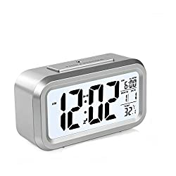 HeQiao LED Clock Slim Digital Alarm Clock Large Display Travel Alarm Clock with Calendar Battery Operated for Home Office (Temperature Display, Snooze Function, White Night Light) (Silver)