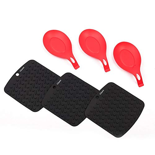 (Black Silicone Placemat and Silicone Spoon Rest Pot Holder Jar Opener Garlic Peeler& Spoon Rest Set of 6 Heat Resistant Dishwasher)