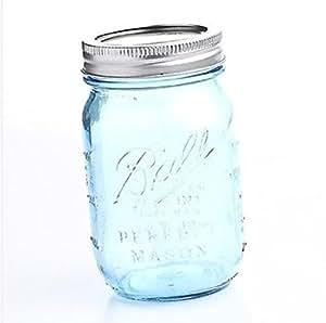 Set of 2 Vintage Blue 100th Anniversary Ball Pint Mason Jars with Lids