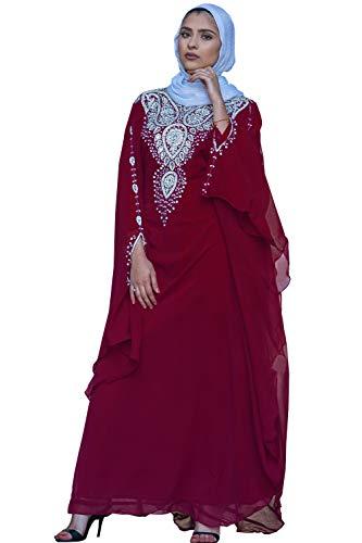 Covered Bliss Menal Kaftan for Women-Long Sleeve Maxi Dress, Gown Formal Elegent Luxury Party Wear (Maroon, -