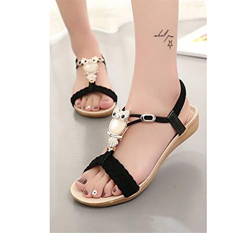 Fantastic-Journey-sandals Women Summer Fashion Ankle-Strap Flip Flops Flats Sandale Femme Suede Light Shoes,Black,9]()