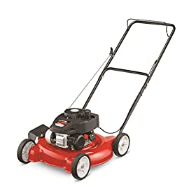 "Yard Machines 140cc 20-Inch Push Mower 56 Powered by a durable 140cc OHV engine to get the job done quickly Equipped with a 20"" side discharge cutting deck. Height Adjustment- 1.25 to 3.75 inches Features 3 cutting height positions that let you cut the grass down to the ideal size"