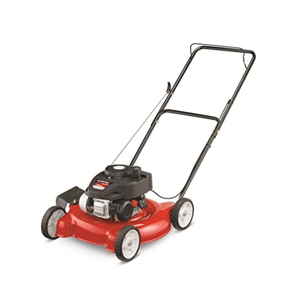 "Yard Machines 132cc 20-Inch Push Gas Lawn Mower - Mower for Small to Medium Sized Yards - Adjustable Cutting Heights… 1 Powered by a durable 140cc OHV engine to get the job done quickly Equipped with a 20"" side discharge cutting deck. Height Adjustment- 1.25 to 3.75 inches Features 3 cutting height positions that let you cut the grass down to the ideal size"