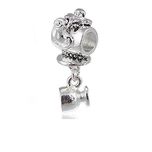 """Miss Tea Pot Dangle Charm"" Charm For Snake Chain Charm Bracelet"