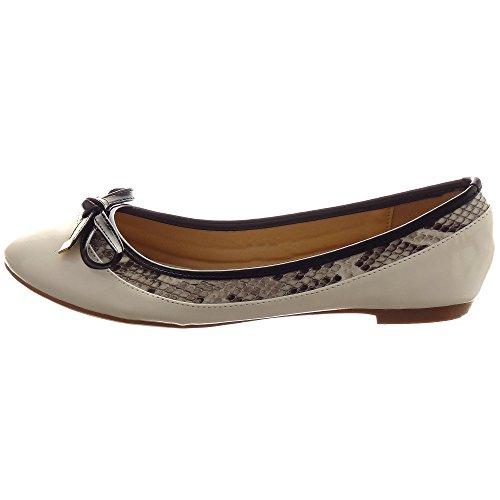 Sopily - Scarpe da Moda ballerina decollete alla caviglia donna papillon metallico Tacco a blocco 1 CM - Bianco