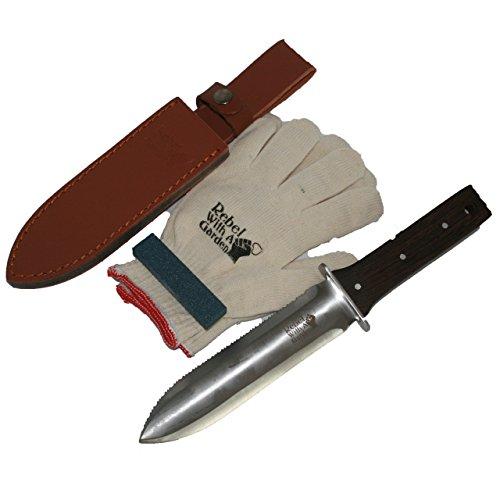 Rebel With A Garden Rebel Garden Samurai Pro Japanese Hori Hori Garden Knife Tool by (Leather Sheath, Whetstone and Cotton garden Gloves) by Rebel With A Garden