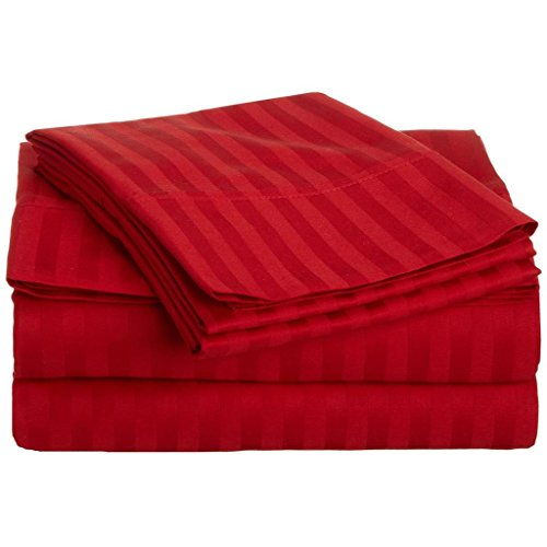Superior 300 Thread Count 100% Premium Combed Cotton, 4-Piece Bed Sheet Set, Deep Pocket, Single Ply, Sateen Stripe, King - Red