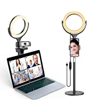 Elitehood 8'' Small Ring Light, Desk Ring Light with Weighted Metal Stand and Phone Holder for Computer & Laptop Video Recording, Webcam Chat, Live Stream, Photography, Makeup, Selfie Photography