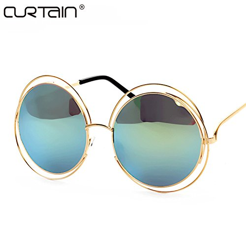 2017 Vintage Round Big Size Oversized lens Mirror Brand Designer Sunglasses, Golden frame gold reflective, Lady Cool Retro UV400 Women SunGlasses Female.