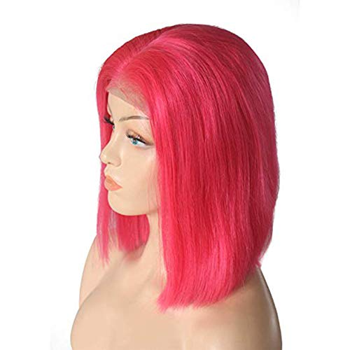 Yamalans Women Peach Red Shoulder Length Straight Central Parting Wig Bobo Hairpiece Long Curly Central Parting Wig Halloween Hairpiece Peach 10Inch -