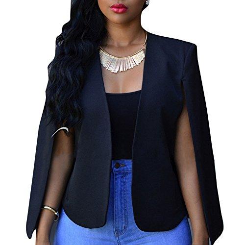 Women Blazer Waistcoat Vest Top - Ladies Solid Color Open Front sans manches Short Duster Coat Suit Jacket Coat Gilet Cardigan Plus Size - hibote Noir