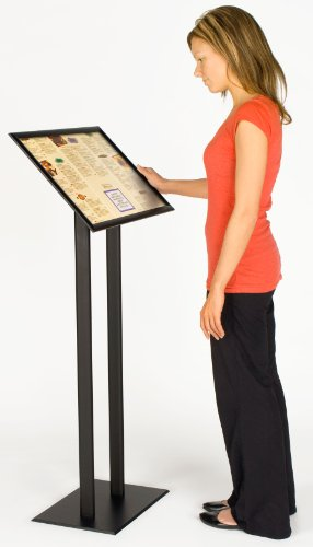 Displays2go Sign Stand, 23 x 48 x 11-1/2 Inches, Black Finish Aluminum Metal, Menu Display Uses Clip Frame Technology to Hold 11 x 14 Inches or 22 x 14 Inches Graphics (UCMB521BLK) by Displays2go (Image #1)