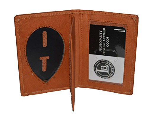 LeatherBoss Police Shield Shape Badge Holder Bifold Wallet (Tan) ()