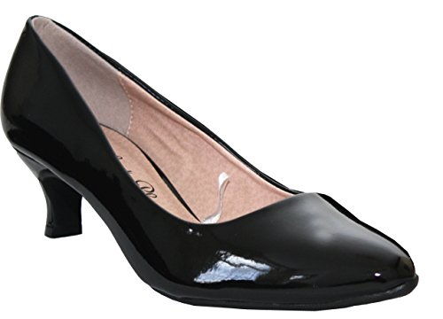 Comfort Plus Ladies Womens Wide Fit Memory Foam Patent Formal Slip On Kitten Heel Party Office Work Court Shoes - Sizes UK 3-8 Black w38RZO9I
