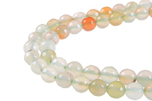 (GoodBead Round Faceted Cream Colored Fire Agate Gemstone Beads 15.5