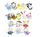 XUANOU 25Set 16PC Story Finger Puppets 10 Animals Cute Dolls 6 Family Members Interactive Educational Toy