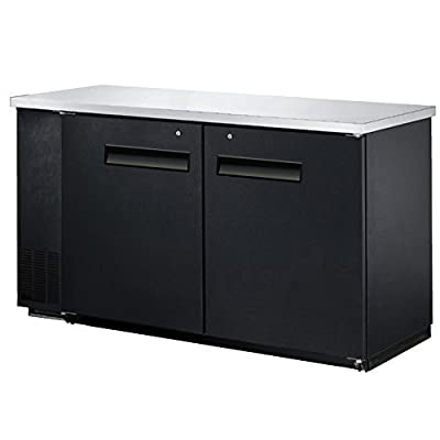 "60"" Commercial 2 Door Back Bar Beer Bottle Beverage Can Cooler Refrigerator, Black, with Stainless Steel Top"