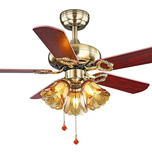 Isle Indoor Ceiling Fan Blades - GHKLGY Dimmable 42-inch Fan Chandelier, recirculating and ventilating Invisible Fan, Remote Control Fan Chandelier, Retro Style Ceiling Fan Light,A