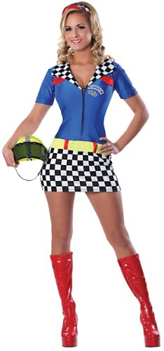 Delicious Racey Racer Costume, Blue/Black/Red, Medium