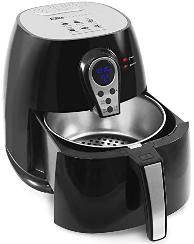 Elite Platinum EAF 05SS Digital Air  Fryer Cooker 3.2 Quart 1400 Watts 26 Full  Color Recipes with BPA Free Stainless Steel Food Basket, Black ()