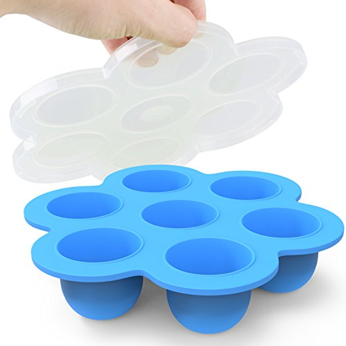 Silicone Egg Bites Molds by Eggcellent: Food Grade Silicone Non-Stick Multipurpose Stackable Storage Container | Flexible Baby Food Freezer Tray With Lid | Instant Pot Accessory Fits Pressure (Blue Glass Cookie Jar)